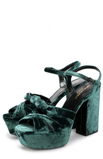 Бархатные босоножки Farrah на устойчивом каблуке и платформе Saint Laurent