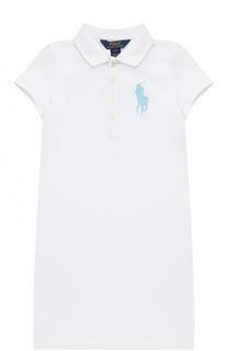 Хлопковое мини-платье прямого кроя с логотипом бренда Polo Ralph Lauren