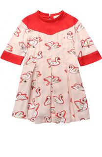 Трикотажное мини-платье с принтом и контрастной отделкой Stella McCartney