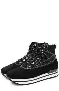 Высокие замшевые кроссовки на шнуровке Hogan