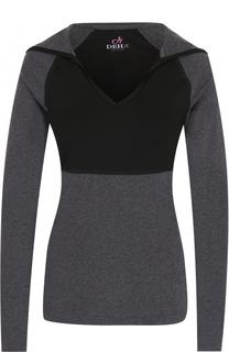 Хлопковый пуловер с V-образным вырезом и капюшоном Deha