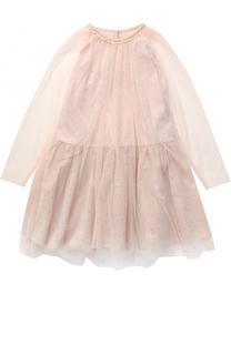 Мини-платье с прозрачными рукавами и стразами Stella McCartney