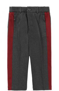Хлопковые брюки прямого кроя с лампасами Dolce & Gabbana