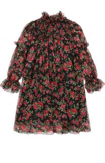 Шелковое платье свободного кроя с принтом Dolce & Gabbana