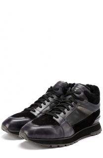 Кожаные кроссовки на шнуровке с внутренней меховой отделкой Santoni