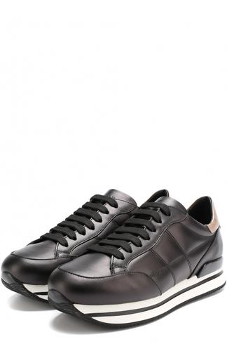 Кожаные кроссовки на шнуровке Hogan