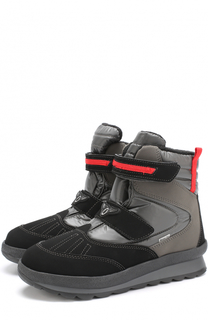 Кожаные ботинки с текстильной отделкой и застежками велькро Jog Dog