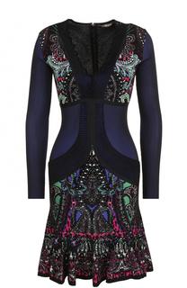 Приталенное мини-платье с принтом и длинным рукавом Roberto Cavalli