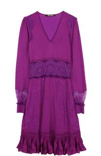 Приталенное платье-миди с кружевными вставками Roberto Cavalli