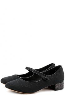 Текстильные туфли с глиттером и ремешками Dolce & Gabbana