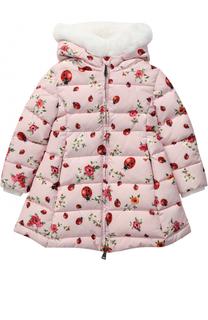 Пуховое пальто с принтом и меховой отделкой на капюшоне Dolce & Gabbana