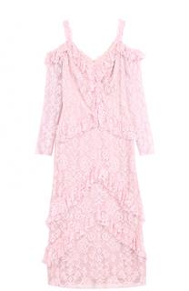 Кружевное приталенное платье с открытыми плечами Tadashi Shoji