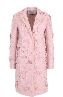 Шерстяное пальто прямого кроя с фактурной отделкой Valentino