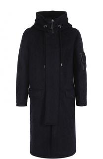 Шерстяное удлиненное пальто на молнии с капюшоном Giorgio Armani