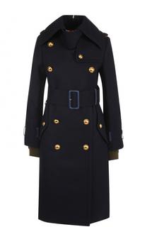 Шерстяное двубортное пальто с поясом Sacai