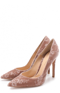 Бархатные туфли Gianvito 105 с вышивкой на шпильке Gianvito Rossi