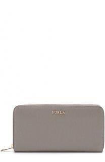 Кожаный кошелек на молнии с логотипом бренда Furla