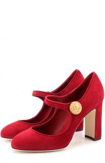 Замшевые туфли Vally на устойчивом каблуке Dolce & Gabbana
