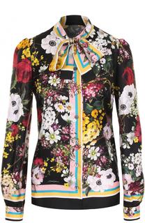 Шелковая блуза с воротником аскот и принтом Dolce & Gabbana