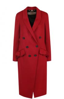 Шерстяное двубортное пальто с оборками Burberry