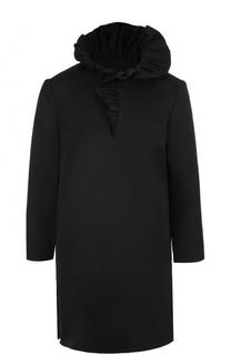 Шерстяная блуза с укороченным рукавом и воротником-стойкой Lanvin