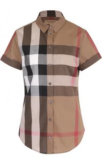 Приталенная хлопковая блуза с коротким рукавом Burberry