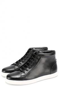 Высокие кожаные кеды на шнуровке BOSS
