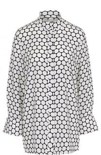 Шелковая блуза с принтом и воротником-стойкой Diane Von Furstenberg