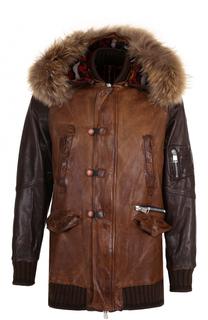Удлиненная кожаная куртка на молнии с меховой отделкой воротника Delan