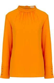 Блуза прямого кроя с воротником-стойкой BOSS