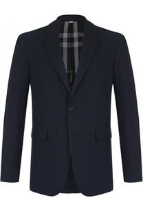 Однобортный пиджак из смеси хлопка и шерсти Burberry