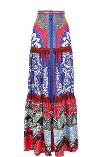 Шелковая юбка-макси с ярким принтом Mary Katrantzou