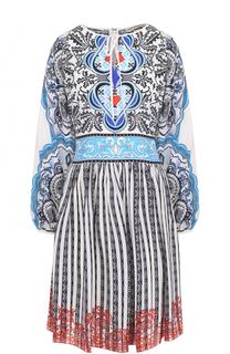 Шелковое мини-платье с принтом Mary Katrantzou