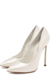 Атласные туфли на декорированной шпильке Blade Casadei