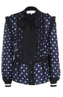Приталенная шелковая блуза с воротником аскот Maison Margiela