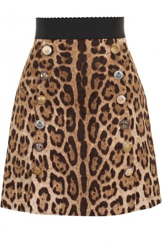 Мини-юбка А-силуэта с леопардовым принтом Dolce & Gabbana