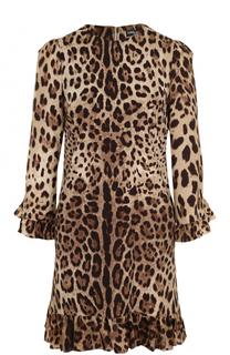 Шелковое мини-платье с леопардовым принтом и оборками Dolce & Gabbana