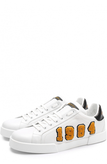 Кожаные кеды на шнуровке с аппликацией Dolce & Gabbana