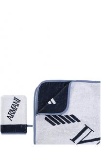 Комплект из хлопкового полотенца и рукавицы Armani Junior