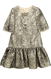 Мини-платье с цветочным узором и металлизированной отделкой Dolce & Gabbana