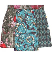 Мини-юбка ассиметричного кроя с принтом и декоративными пуговицами Dolce & Gabbana