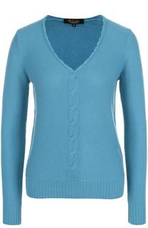 Кашемировый пуловер с V-образным вырезом и фактурной отделкой Loro Piana