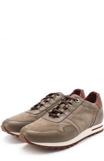 Замшевые кроссовки с кожаной отделкой на шнуровке Loro Piana