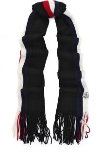 Шерстяной вязаный шарф с бахромой Moncler