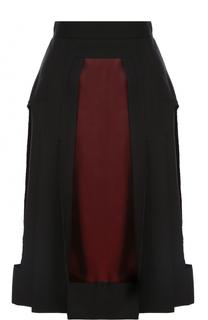 Шерстяная юбка-миди с контрастными вставками Maison Margiela
