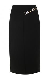 Однотонная юбка-миди с кожаной отделкой Lanvin