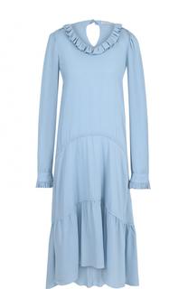 Платье-миди свободного кроя с оборками Balenciaga