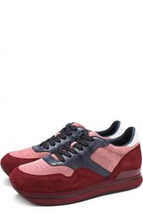 Замшевые кроссовки на шнуровке Hogan