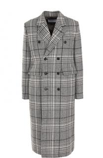 Двубортное шерстяное пальто в клетку Balenciaga