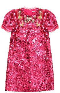 Мини-платье с пайетками и кристаллами Dolce & Gabbana